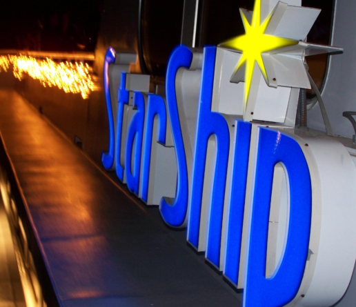 StarShip lighted logo on boat