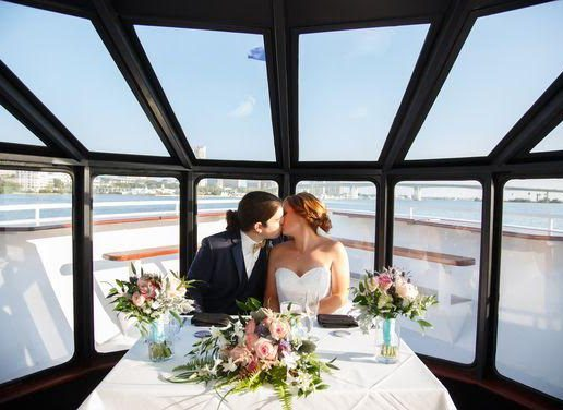 Wedding couple kissing on cruise