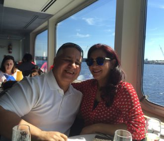 Couple on cruise with window seat