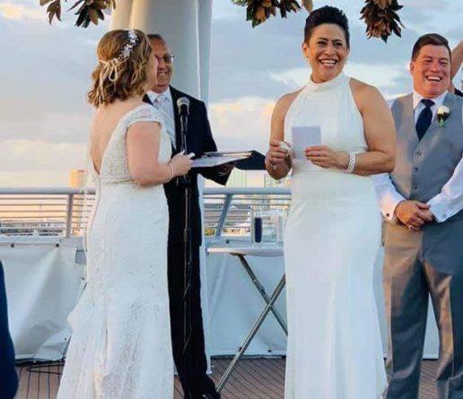 wedding couple vows at sunset cruise