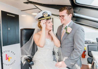 bride and groom in helm