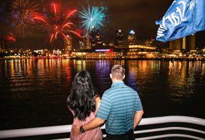 fireworks on a yacht