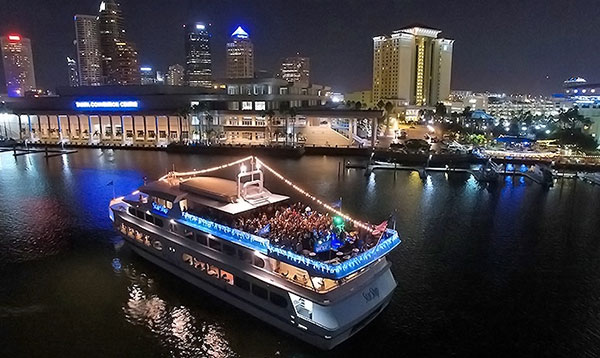 Rock the yacht aboard yacht starship at night in downtown tampa