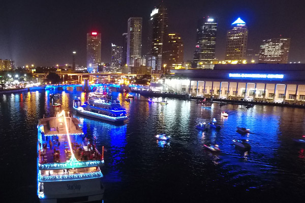 Yacht StarShip I & II in the holiday Lighted Boat Parade in Downtown Tampa