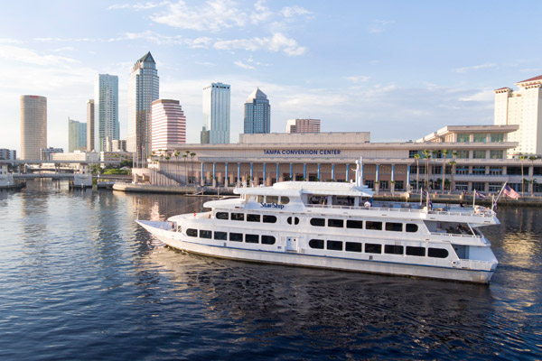 Yacht StarShip cruising Downtown Tampa