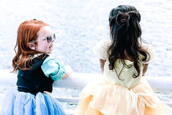 kids in princess costumes on cruise